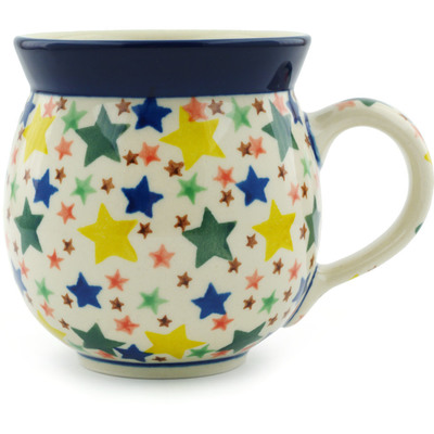 Polish Pottery Bubble Mug 12 oz Star Fiesta