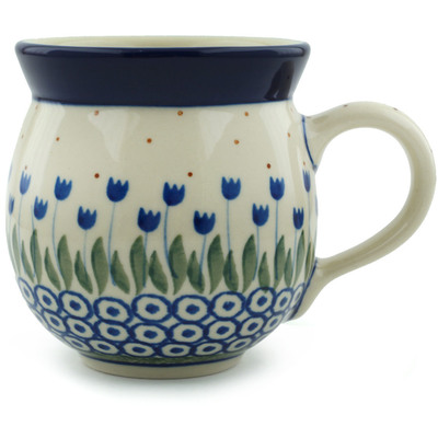 Polish Pottery Bubble Mug 12 oz Water Tulip