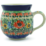 Polish Pottery Bubble Mug 12 oz Yellow Rose Meadow UNIKAT