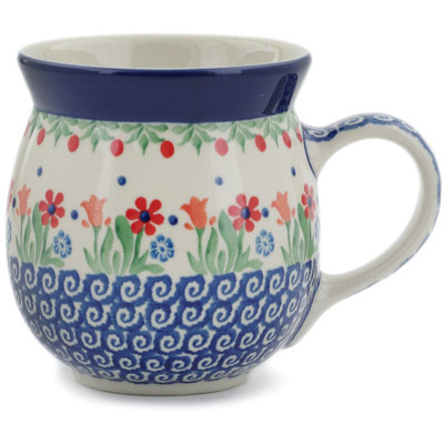 Polish Pottery Bubble Mug 16 oz Babcia's Garden