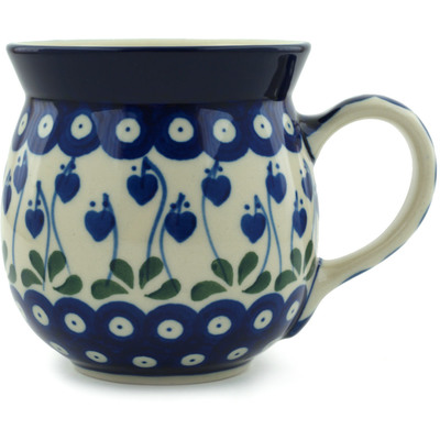 Polish Pottery Bubble Mug 16 oz Bleeding Heart Peacock