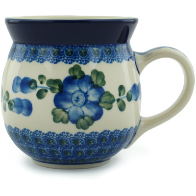 Polish Pottery Bubble Mug 16 oz Blue Poppies
