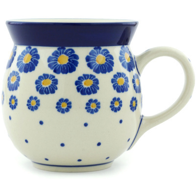 Polish Pottery Bubble Mug 16 oz Blue Zinnia