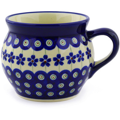 Polish Pottery Bubble Mug 16 oz Flowering Peacock