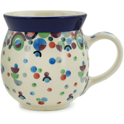 Polish Pottery Bubble Mug 16 oz Geometric Groove UNIKAT