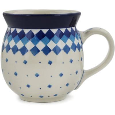 Polish Pottery Bubble Mug 16 oz Geometric Winter