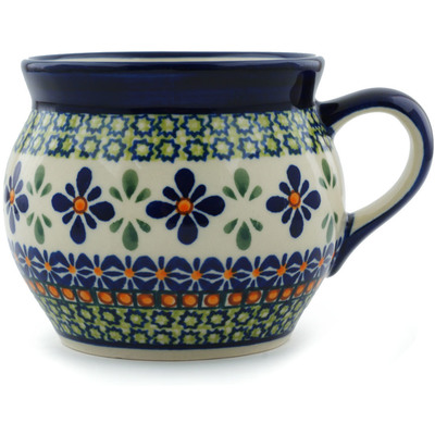 Polish Pottery Bubble Mug 16 oz Gingham Flowers