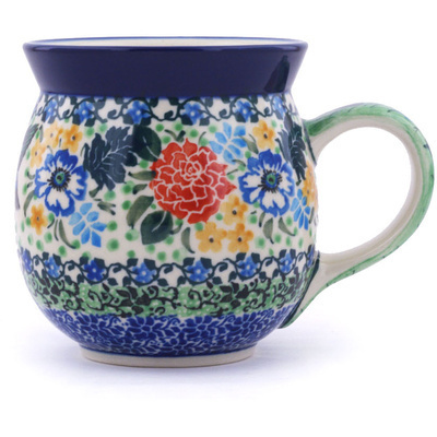 Polish Pottery Bubble Mug 16 oz Hummingbird Meadow UNIKAT