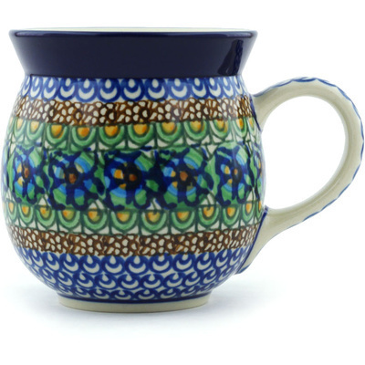 Polish Pottery Bubble Mug 16 oz Mardi Gra UNIKAT