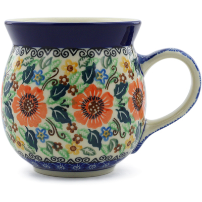 Polish Pottery Bubble Mug 16 oz Orange Wreath UNIKAT