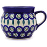 Polish Pottery Bubble Mug 16 oz Peacock Leaves