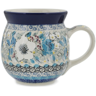 Polish Pottery Bubble Mug 16 oz Solstice Bloom UNIKAT