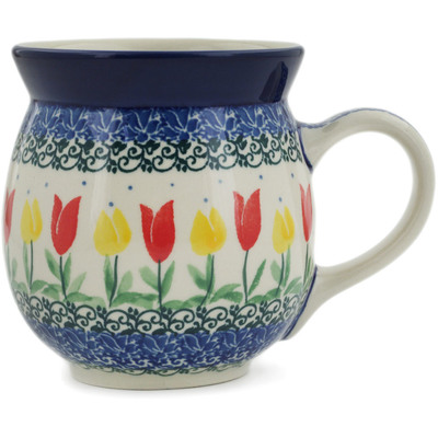 Polish Pottery Bubble Mug 16 oz Spring Tulip Field