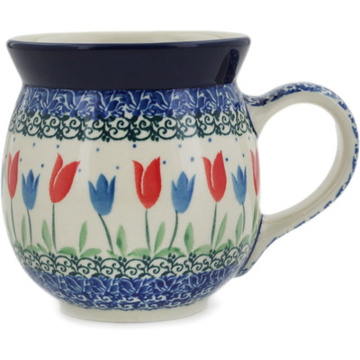 Polish Pottery Bubble Mug 16 oz Tulip Fever