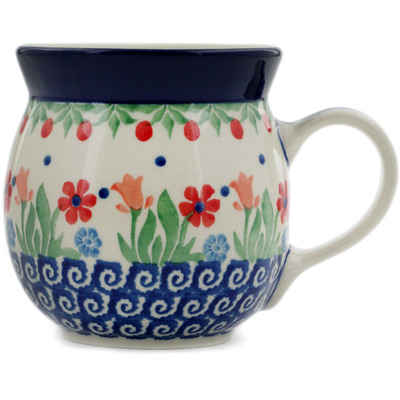Polish Pottery Bubble Mug 8 oz Babcia's Garden