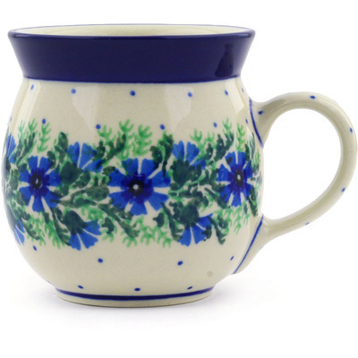 Polish Pottery Bubble Mug 8 oz Blue Bell Wreath
