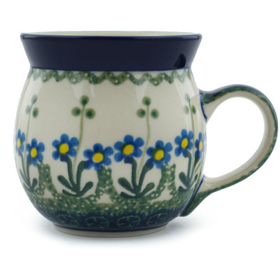 Polish Pottery Bubble Mug 8 oz Blue Daisy Circle
