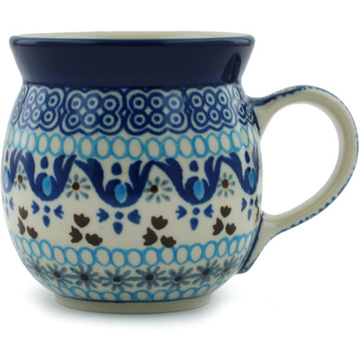 Polish Pottery Bubble Mug 8 oz Blue Ice