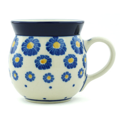 Polish Pottery Bubble Mug 8 oz Blue Zinnia