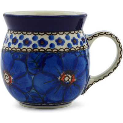 Polish Pottery Bubble Mug 8 oz Cobalt Poppies UNIKAT
