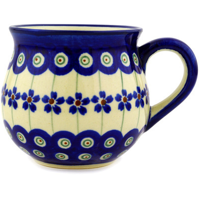 Polish Pottery Bubble Mug 8 oz Flowering Peacock