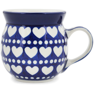 Polish Pottery Bubble Mug 8 oz Heart To Heart