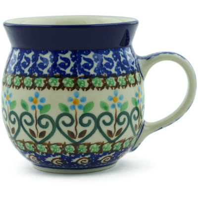 Polish Pottery Bubble Mug 8 oz Heart Vines UNIKAT