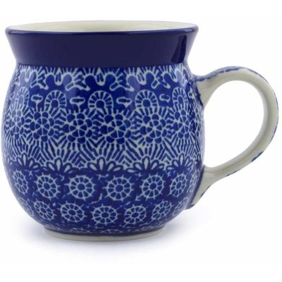 Polish Pottery Bubble Mug 8 oz Winter Frost