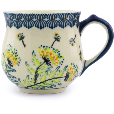 Polish Pottery Bubble Mug Small Yellow Dandelions