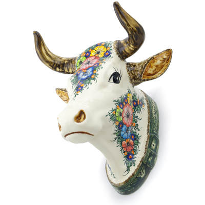 "Polish Pottery Bull Head Wall Mount 13"" Summertime Blues UNIKAT"
