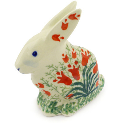 "Polish Pottery Bunny Figurine 3"" Crimson Bells"