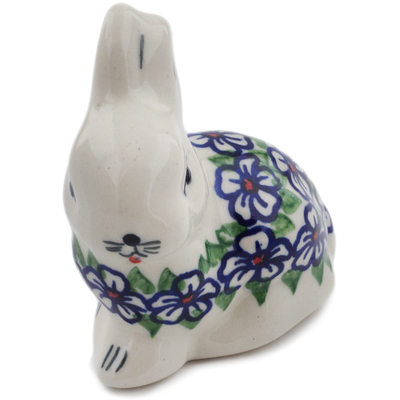 "Polish Pottery Bunny Figurine 3"" Flower Bouquet"