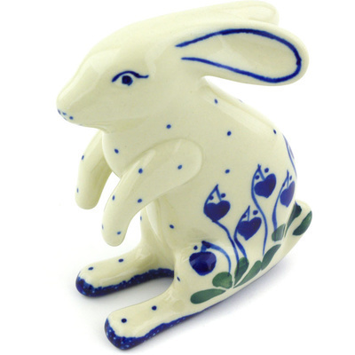 "Polish Pottery Bunny Figurine 4"" Bleeding Heart Peacock"