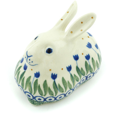 "Polish Pottery Bunny Figurine 4"" Blue Tulip Circle"