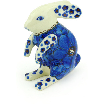 "Polish Pottery Bunny Figurine 4"" Cobalt Poppies UNIKAT"