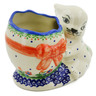 "Polish Pottery Bunny Shaped Jar 6"" Spring Flowers"