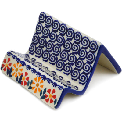 "Polish Pottery Business Card Holder 4"" Wave Of Flowers"