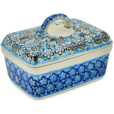 Polish Pottery Butter box Out Of Blue UNIKAT