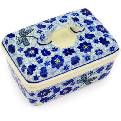 "Polish Pottery Butter Dish 5"" Blue Dragonfly"
