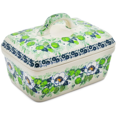 "Polish Pottery Butter Dish 5"" Daisies Wreath UNIKAT"
