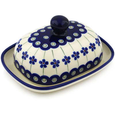 "Polish Pottery Butter Dish 6"" Flowering Peacock"