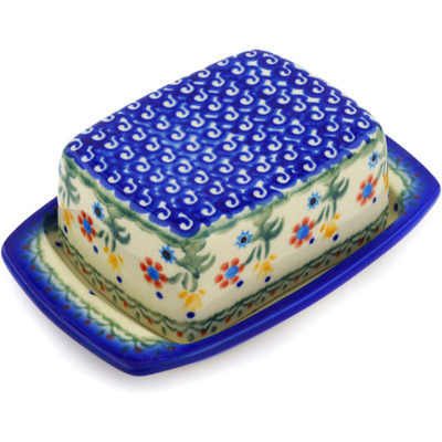 "Polish Pottery Butter Dish 6"" Spring Flowers"
