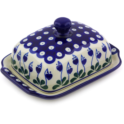 "Polish Pottery Butter Dish 7"" Bleeding Heart Peacock"