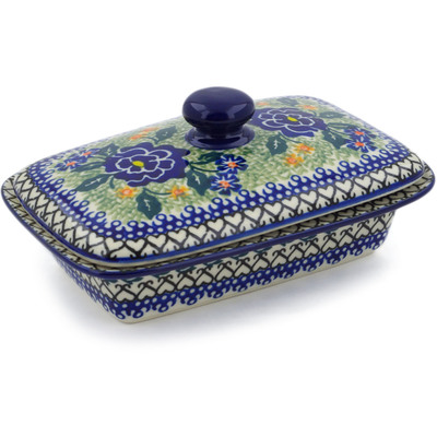 "Polish Pottery Butter Dish 7"" Blue Perfection UNIKAT"