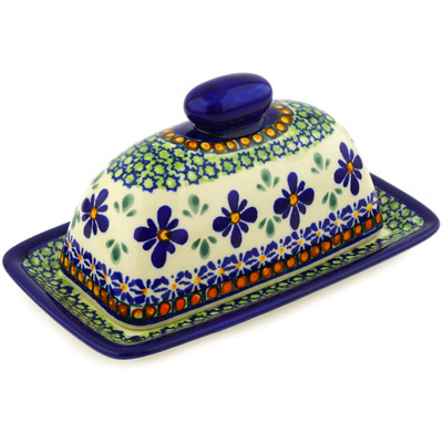 "Polish Pottery Butter Dish 7"" Gingham Flowers"