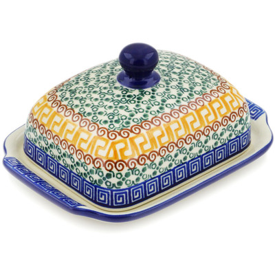 "Polish Pottery Butter Dish 7"" Grecian Sea"