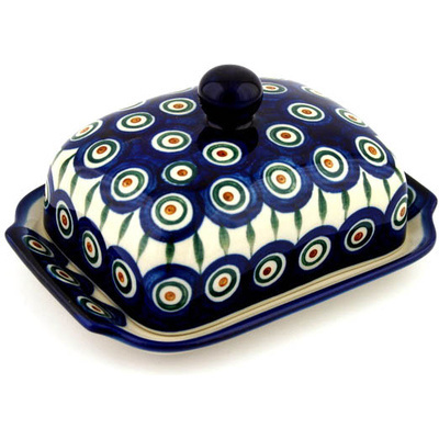 "Polish Pottery Butter Dish 7"" Peacock Leaves"