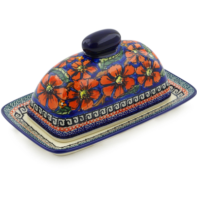 "Polish Pottery Butter Dish 7"" Poppies UNIKAT"