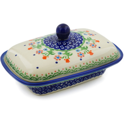 "Polish Pottery Butter Dish 7"" Spring Flowers"