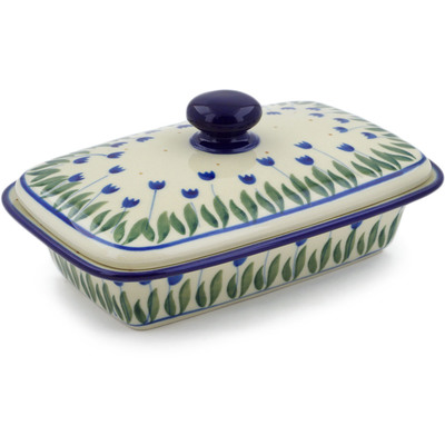 "Polish Pottery Butter Dish 7"" Water Tulip"